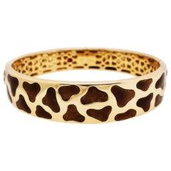 Authentic Roberto Coin Giraffe Bracelet in 18 Karat Yellow Gold, Enamel Accents