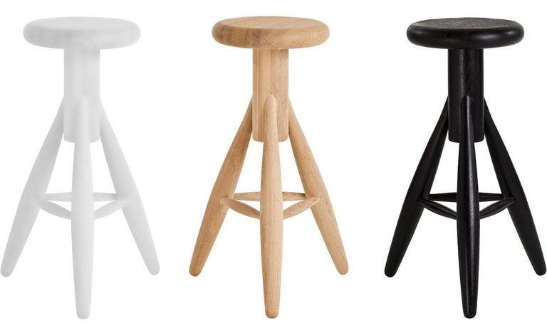 Lacquered Authentic Rocket Bar Stool in Oak with Black Lacquer by Eero Aarino & Artek For Sale