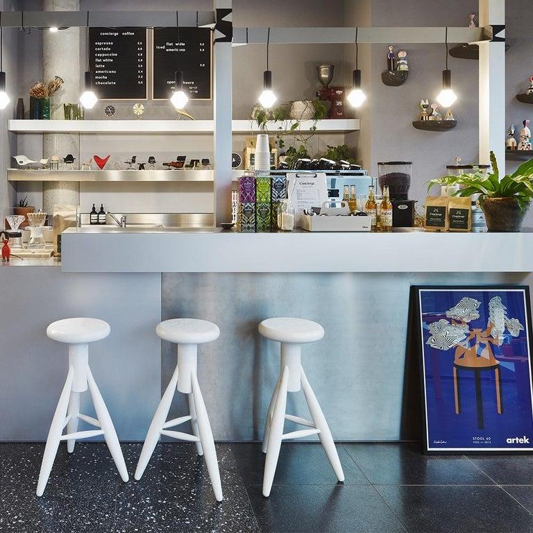 Scandinavian Modern Authentic Rocket Bar Stool in Oak with White Finish by Eero Aarino & Artek