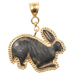 Authentic Roman Bronze Rabbit Fragment Set in New 21-Karat Gold Pendant