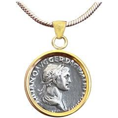 Authentic Roman Coin 18 Karat Gold Pendant Depicting Emperor Trajan '98-117 AD'