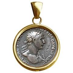 Roman Coin 1st cent.A D 18Kt Gold Pendant  Necklace Depicting Emperor Trajan
