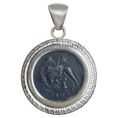 Authentic Roman Coin IVcent. AD Sterling Silver Pendant with She-Wolf and Twins