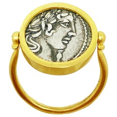 Authentic Roman Coin -1st century BC- 18 Kt  Ring Depicting God Apollo