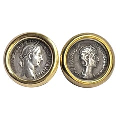 Authentic Roman Coins 18 Kt Gold Cufflinks Depicting Alexander Severus and Wife