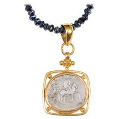 Authentic Roman Empire Domitian Silver Pegasus Coin Set in 22-Karat Gold Pendant