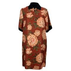 Authentic Salvatore Ferragamo Floral Silk and Cotton T-Shirt Dress Size 44 IT