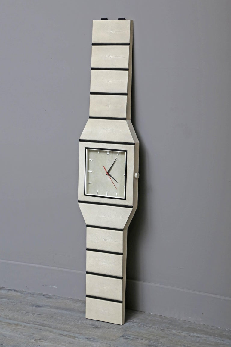 Whimsical wall clock in the form of a wristwatch fabricated in France by Serge de Troyer.