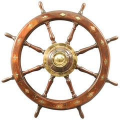 Authentic Ship's Wheel with Brass Diamond Inlay