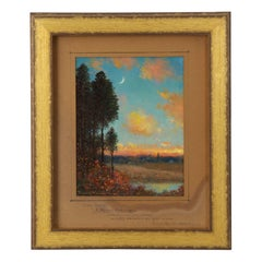 "Authentic Signed ""New Moons"" Antique Landscape Painting by Frank Russell Green"