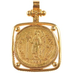 Authentic Solidus Roman Imperial Coin in 22k Gold Necklace Pendant, circa 476 AD