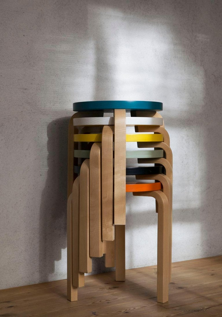 Authentic Stool 60 in Lacquered Birch with Linoleum Seat by Alvar Aalto & Artek In New Condition For Sale In Glendale, CA