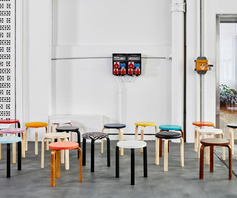 Contemporary Authentic Stool 60 in Lacquered Birch with Linoleum Seat by Alvar Aalto & Artek For Sale