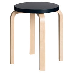Authentic Stool E60 in Black Lacquer and Birch by Alvar Aalto & Artek