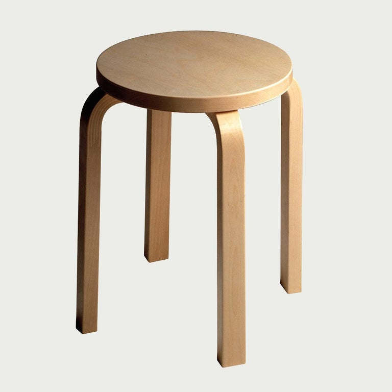 Finnish Authentic Stool E60 in Lacquered Birch with Laminate Seat by Alvar Aalto & Artek For Sale