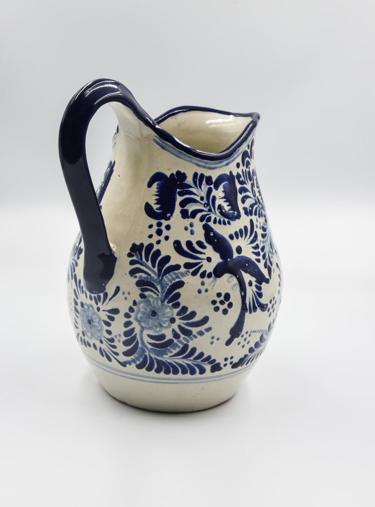 Spanish Colonial Authentic Talavera Blue Pitcher Puebla Ceramic Traditional Mexican Decorative For Sale