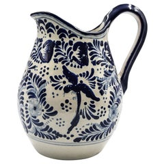 Authentic Talavera Blue Pitcher Puebla Ceramic Traditional Mexican Decorative