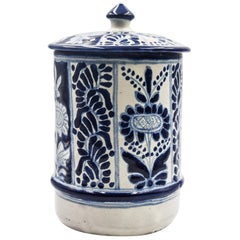 Authentic Talavera Blue Vessel Jar Puebla Ceramic Mexican Decorative Colonial