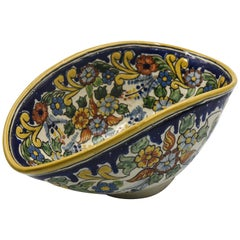 Authentic Talavera Decorative Bowl Folk Art Dish Mexican Ceramic Blue Yellow