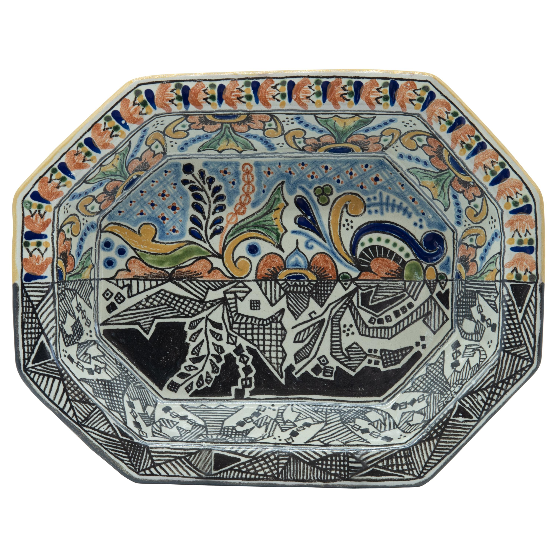 Authentic Talavera Decorative Bowl Folk Art Vessel Mexican Ceramic Blue White