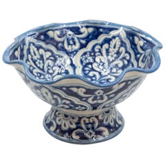 Authentic Talavera Decorative Fruit Bowl Folk Art Mexican Ceramic Blue White