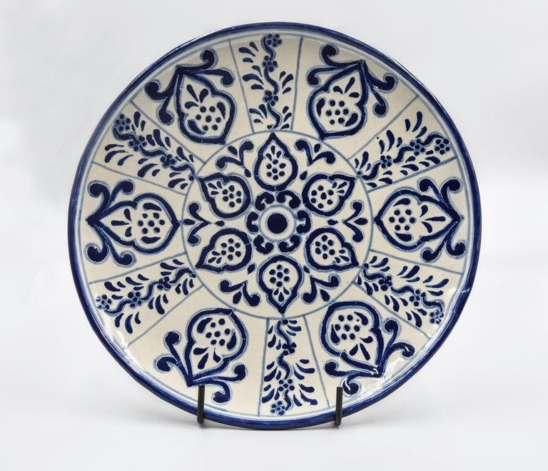 Authentic Talavera Decorative Plate Folk Art Dish Mexican Ceramic Blue White 2