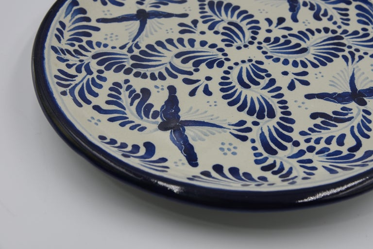 Spanish Colonial Authentic Talavera Decorative Plate Folk Art Dish Mexican Ceramic Blue White For Sale