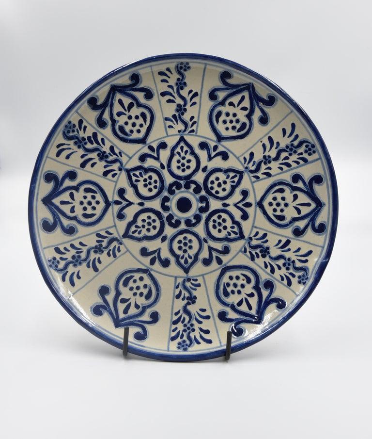Authentic Talavera Decorative Plate Folk Art Dish Mexican Ceramic Blue White 3