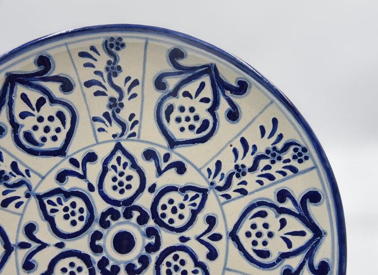 Authentic Talavera Decorative Plate Folk Art Dish Mexican Ceramic Blue White 4