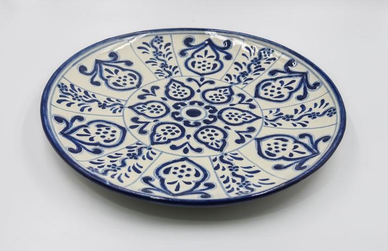 Authentic Talavera Decorative Plate Folk Art Dish Mexican Ceramic Blue White 5