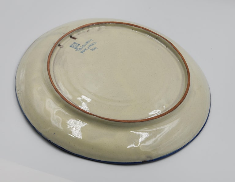 Authentic Talavera Decorative Plate Folk Art Dish Mexican Ceramic Blue White 6