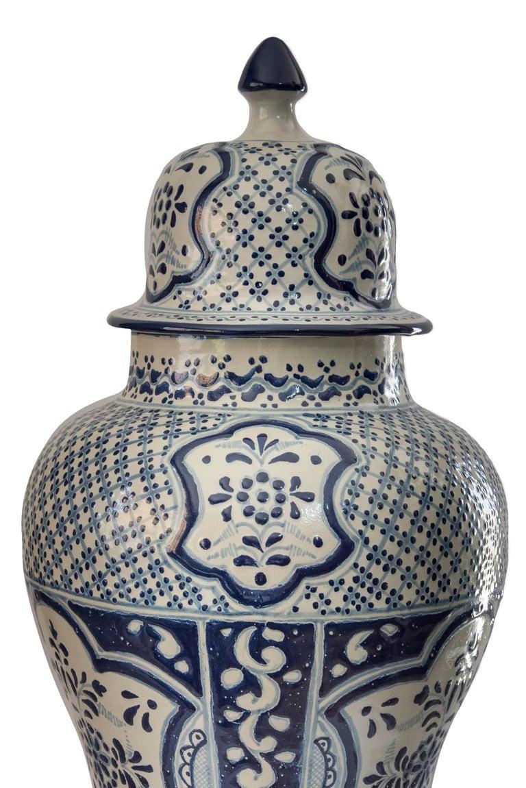 Hand-Crafted Authentic Talavera Decorative Vase Folk Art Vessel Mexican Ceramic Blue White For Sale