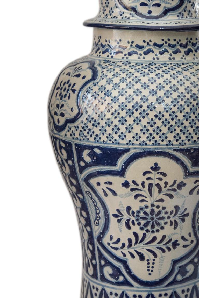 Contemporary Authentic Talavera Decorative Vase Folk Art Vessel Mexican Ceramic Blue White For Sale