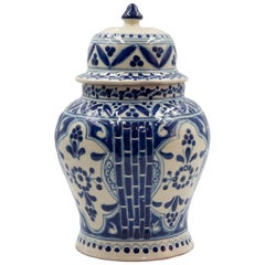 Authentic Talavera Decorative Vase Folk Art Vessel Mexican Ceramic Blue White