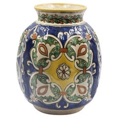 Authentic Talavera Decorative Vase Folk Art Vessel Mexican Ceramic Blue White