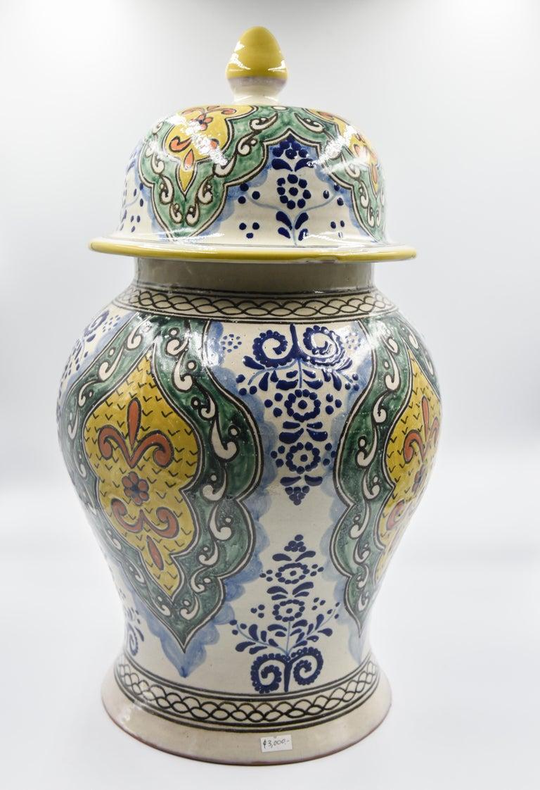 Authentische Talavera Dekor Vase Volkskunst mexikanische Keramik blau gelb 10