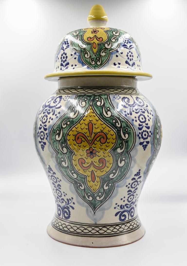 Authentische Talavera Dekor Vase Volkskunst mexikanische Keramik blau gelb 2