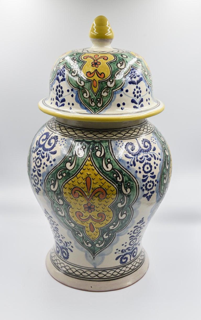 Authentische Talavera Dekor Vase Volkskunst mexikanische Keramik blau gelb 3
