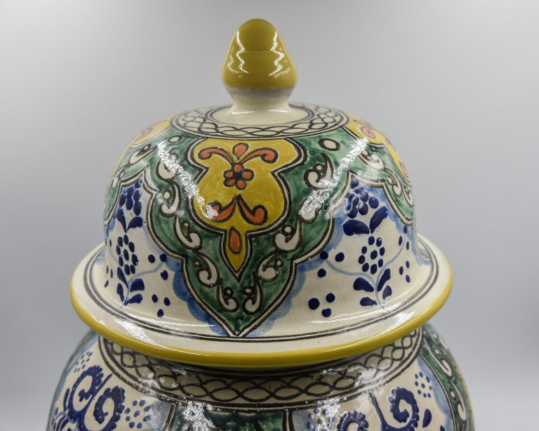 Authentische Talavera Dekor Vase Volkskunst mexikanische Keramik blau gelb 4