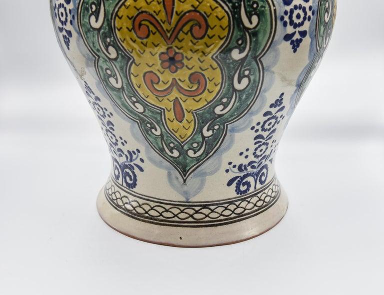 Authentische Talavera Dekor Vase Volkskunst mexikanische Keramik blau gelb 5