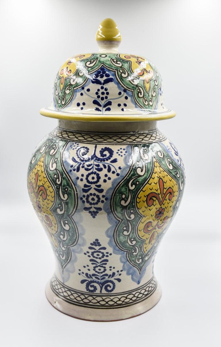 Authentische Talavera Dekor Vase Volkskunst mexikanische Keramik blau gelb 6