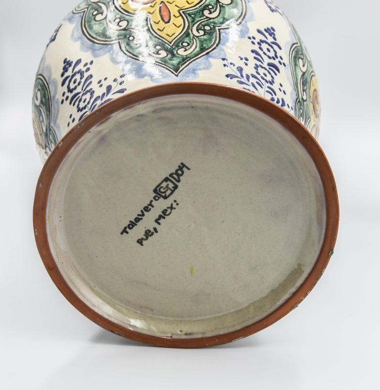 Authentische Talavera Dekor Vase Volkskunst mexikanische Keramik blau gelb 7