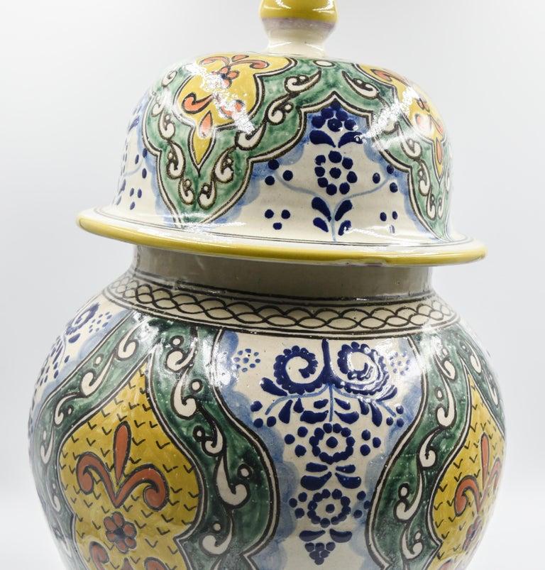 Authentische Talavera Dekor Vase Volkskunst mexikanische Keramik blau gelb 8