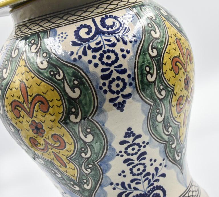 Authentische Talavera Dekor Vase Volkskunst mexikanische Keramik blau gelb 9