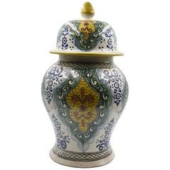Authentische Talavera Dekor Vase Volkskunst mexikanische Keramik blau gelb