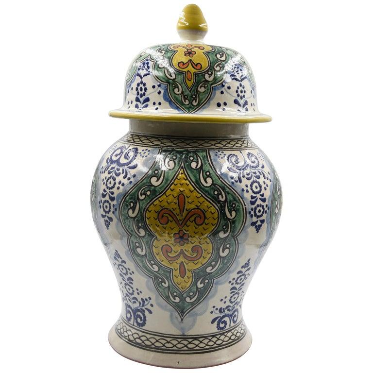 Authentische Talavera Dekor Vase Volkskunst mexikanische Keramik blau gelb 1