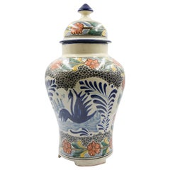 Authentic Talavera Decorative Vase Folk Art Vessel Mexican Ceramic Puebla Blue