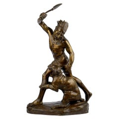 Authentic Thomas Cartier French Bronze Sculpture of Indian Warrior and Lynx