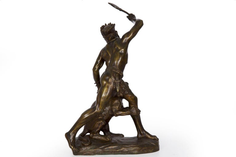 Authentic Thomas Cartier French Bronze Sculpture of Indian Warrior and Lynx For Sale 6