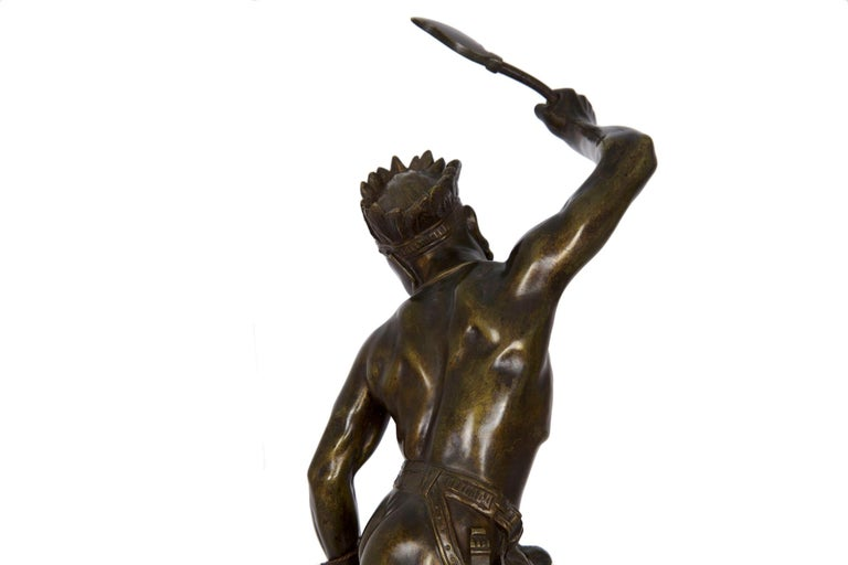 Authentic Thomas Cartier French Bronze Sculpture of Indian Warrior and Lynx For Sale 7